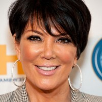 Kris Jenner Short Layered Haircut with Bangs for Women Over 50