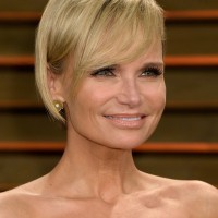 Kristin Chenoweth Short Haircut with Side Swept Bangs for Square Faces