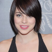 Krysta Rodriguez Short Straight Haircut with Side Swept Bangs