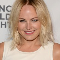 Latest Most Popular Layered Medium Hairstyle with Dark Roots from Malin Åkerman