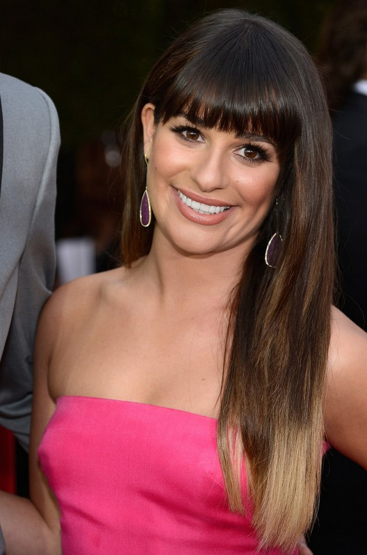 Lea Michele Long Straight Ombre Hair With Blunt Bangs Styles Weekly