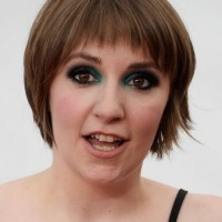 Lena Dunham Simple Short Straight Haircut with Choppy Bangs
