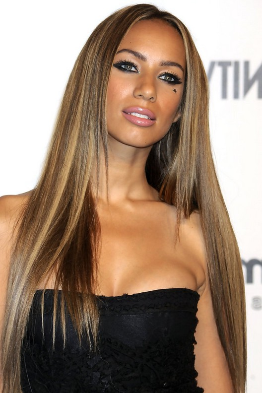Leona Lewis Highlighted Long Sleek Straight Hairstyle for Black ...