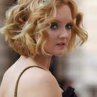 Lily Cole Romantic Short Wavy Curly Bob Hairstyle for Wedding