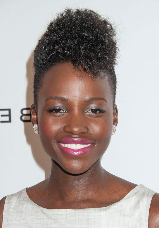 Lupita Nyong O Short Curly Fauxhawk Haircut For Black Women Styles