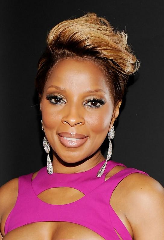 Mary J Blige Edgy Short Fauxhawk Haircut For Black Women