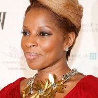 Mary J. Blige Short Blonde Straight Haircut for Black Women