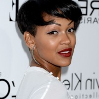 Meagan Good Modern Short Straight Haircut with Bangs for Black Hair