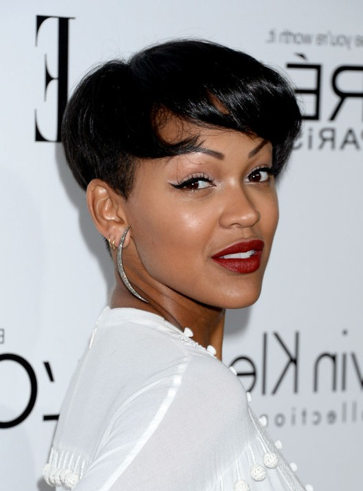 Meagan good modern short straight haircut with bangs for black meagan good modern short straight haircut with bangs for black hair urmus Images