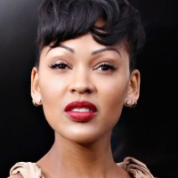 Meagan Good Short Boyish Haircut with Messy Bangs
