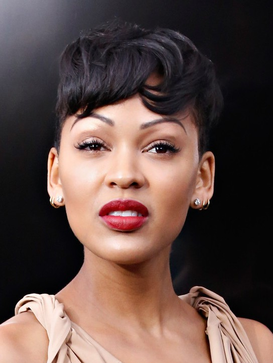 Meagan Good Short Boyish Haircut With Messy Bangs Styles Weekly