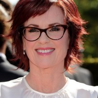 Megan Mullally Short Layered Red Razor Haircut for Fall