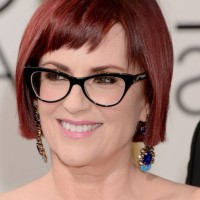 Megan Mullally Short Red Bob Cut with Bangs