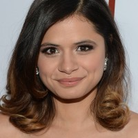 Melonie Diaz Medium Black to Brown Ombre Hairstyle for Round Faces