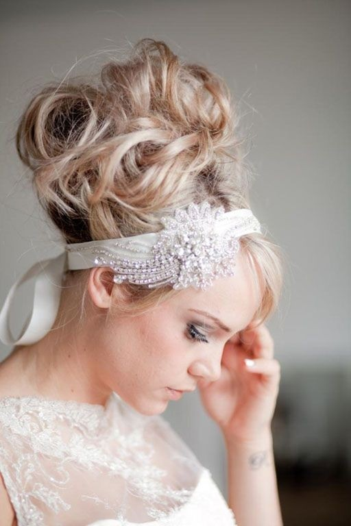 Messy High Bun Updos for Bride and Bridesmaids