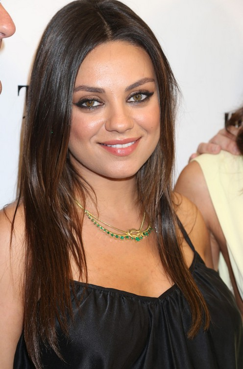 Mila Kunis Cute Center Parted Long Layered Straight Ombre