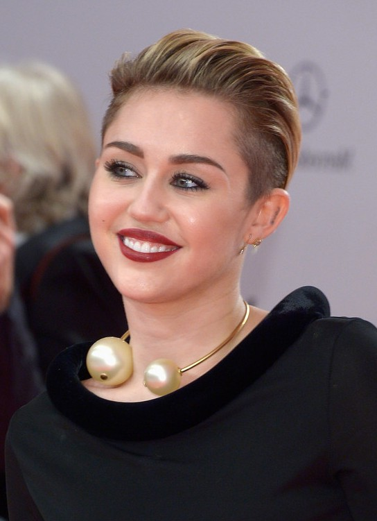 Miley Cyrus Hairstyles  Short Straight Pull Back Haircut  Getty imagesMiley Cyrus Haircut Back