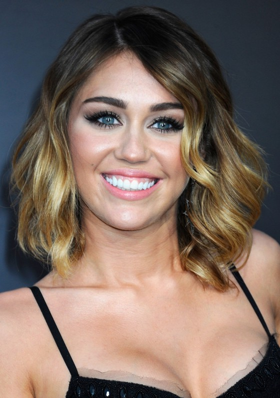 Fine Miley Cyrus Soft Wavy Ombre Bob Hairstyle For Medium Length Hair Hairstyles For Men Maxibearus