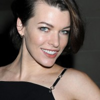 Milla Jovovich Side Parted Haircut for Short Hair