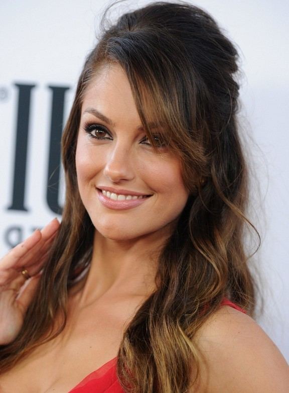 Minka Kelly Half Up Down Hairstyle With Bangs