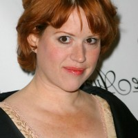 Molly Ringwald Short Layered Red Razor Cut with Bangs
