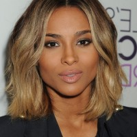 Most Popular Center Part Medium Wavy Hairstyle from Ciara