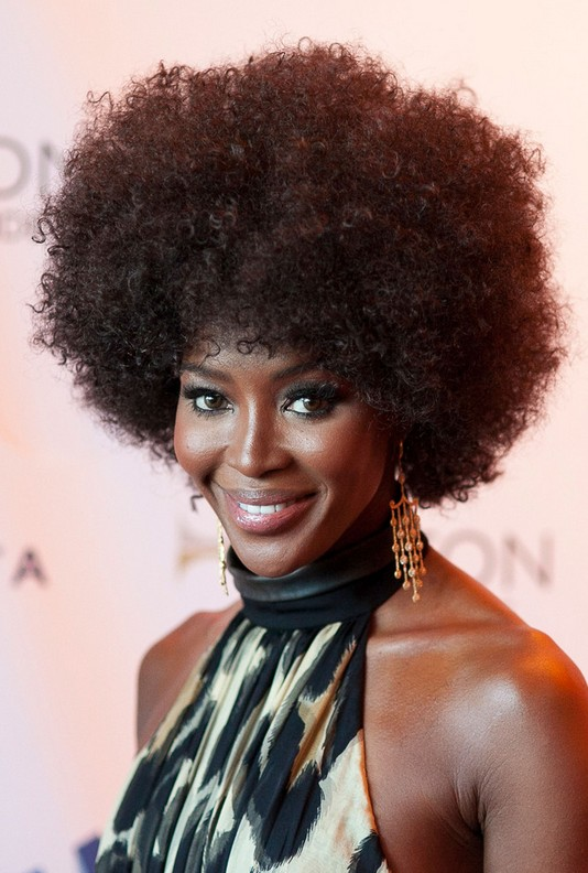 Naomi Campbell 70s Afro Curly Hairstyle for Black Women ...