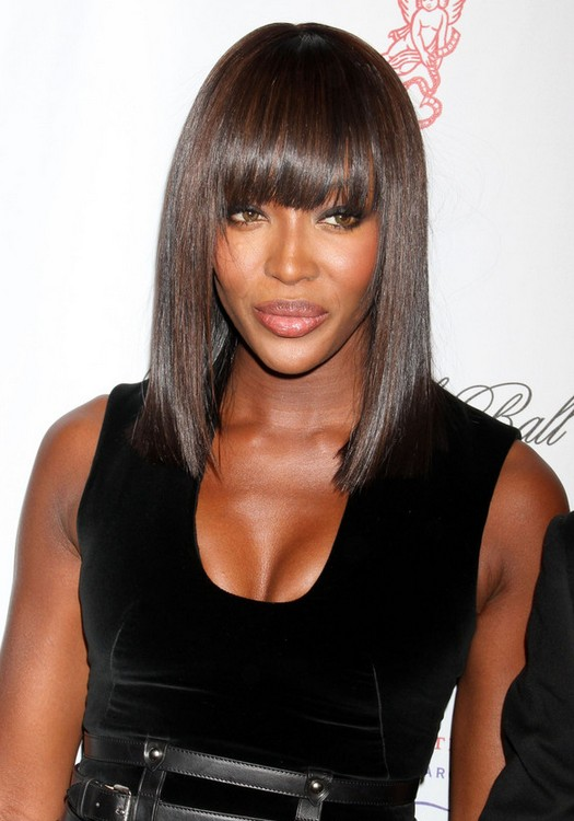 Campbell Long Straight Bob Hairstyle with Blunt Bangs for Black Women