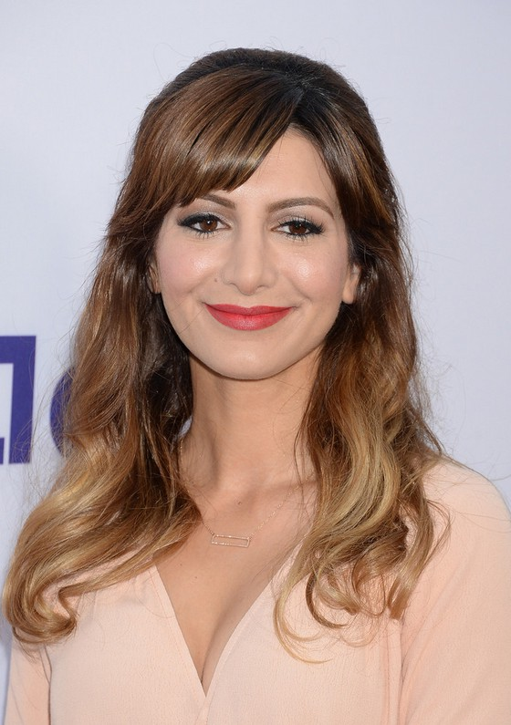 Nasim Pedrad Ombre Half Up Down Hairstyle With Bangs