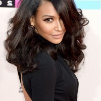Naya Rivera Medium Dark Brown Curly Hairstyle