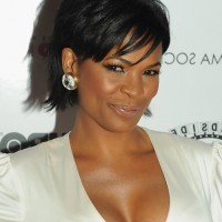 Nia Long Short Straight Black Haircut with Bangs for Black Women