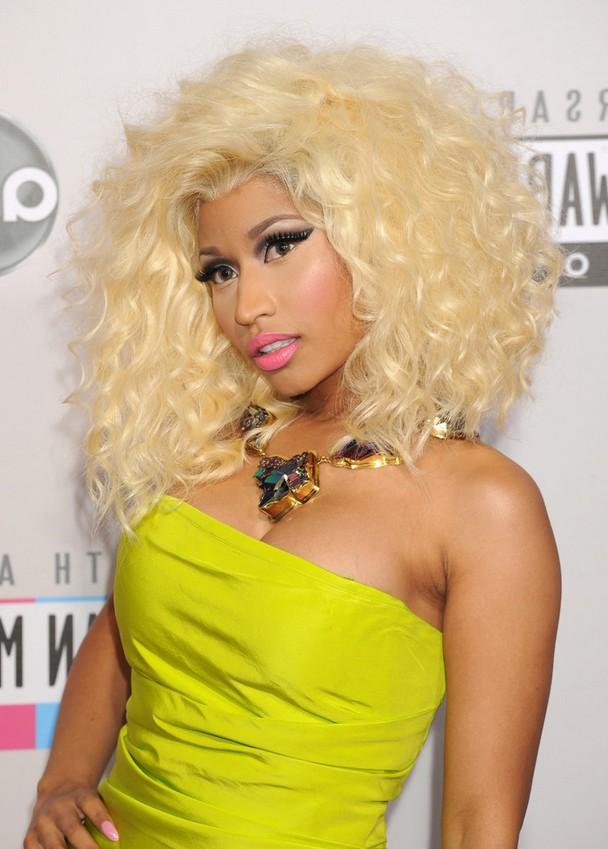 Nicki Minaj Medium Blonde Curly Hairstyle With Big Breast