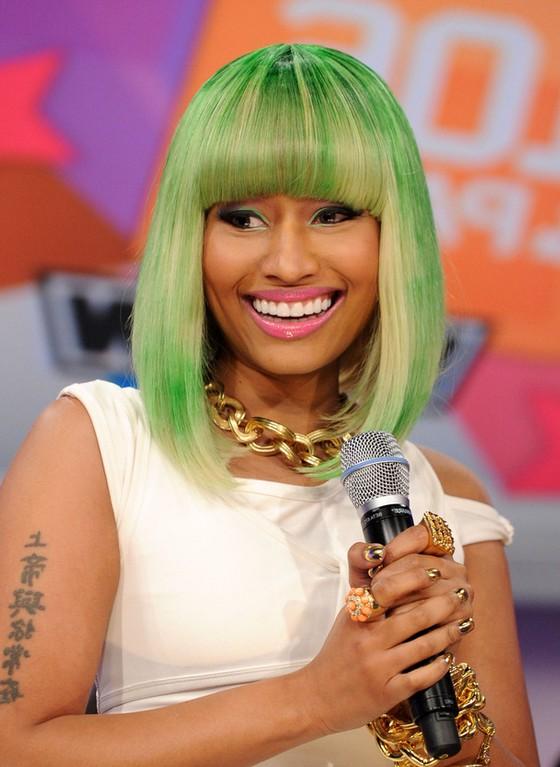 Cool Nicki Minaj Medium Green Blonde Bob Hairstyle With Blunt Bangs Short Hairstyles Gunalazisus