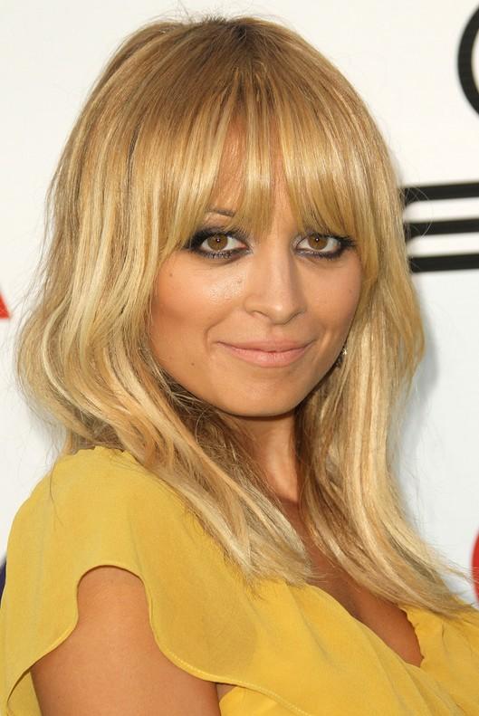 Nicole Richie Latest Layered Long Straight Haircut With Wispy Bangs