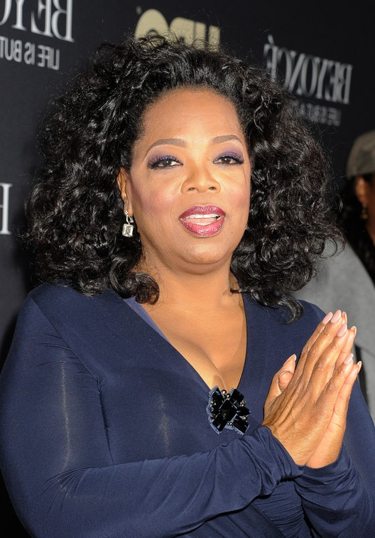 Oprah Winfrey Shoulder Length Black Curly Hairstyle For Women Over