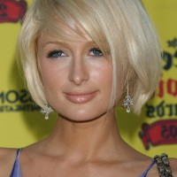 Paris Hilton Cute Short Side Parted Bob Hairstyle with Bangs