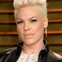 Pink's Platinum Blond Fauxhawk Haircut for Women