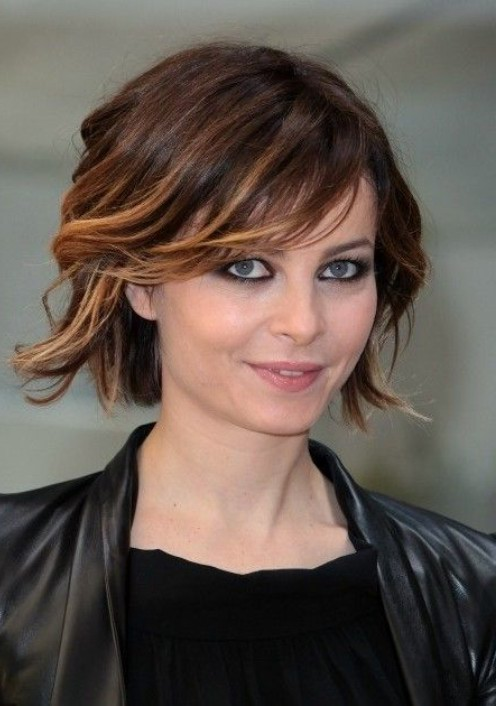 Pretty Short Ombre Hair Style with Side Swept Bangs
