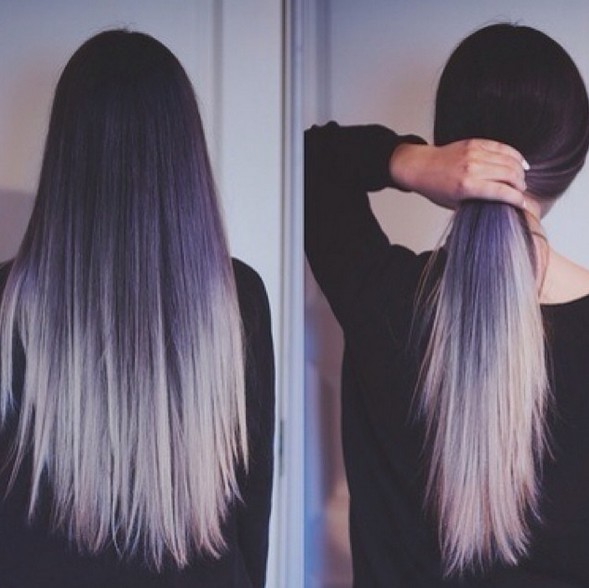 pueple to silver hairstyle for long straight hair hair color