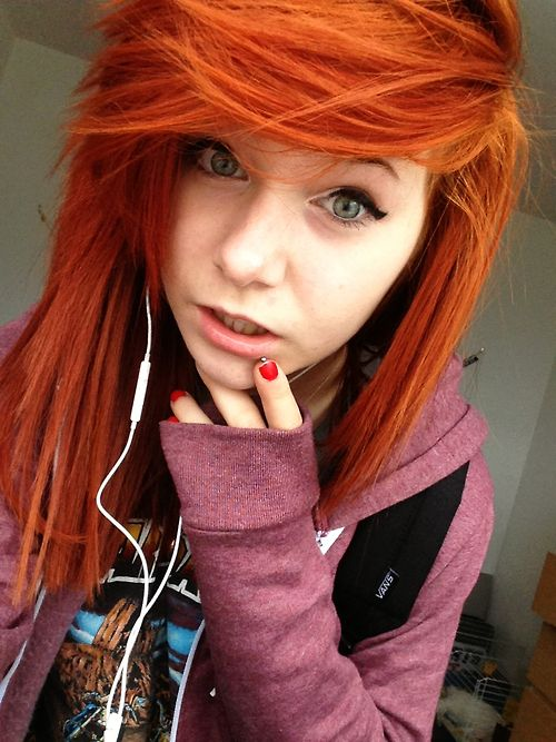 2015 Red Long EMO Hairstyle for Girls with Thick Bangs ...