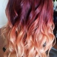 Red to Blonde Ombre Hair with Waves
