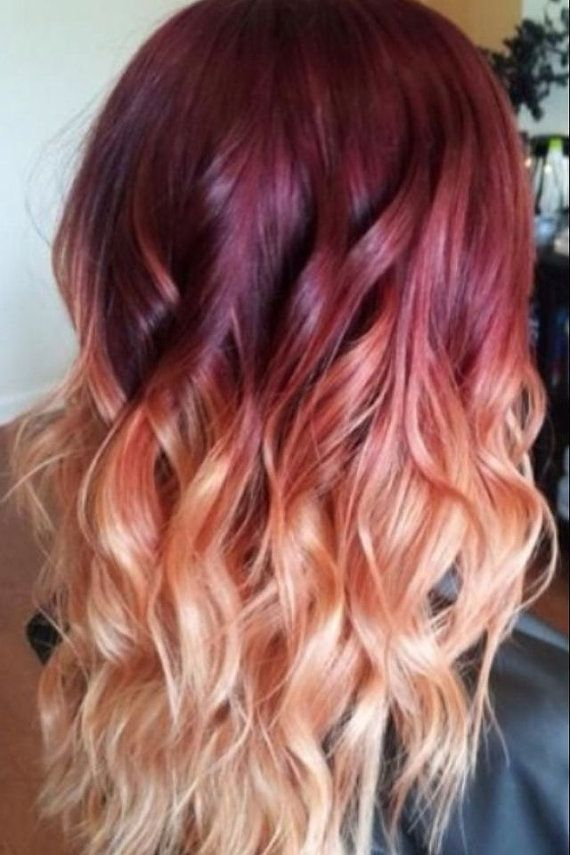 Red To Blonde Ombre Hair With Waves Styles Weekly