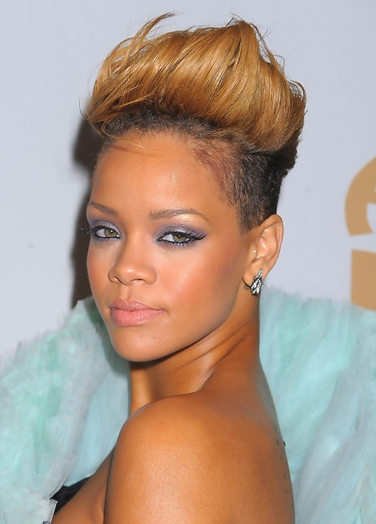 Rihanna new short spiked ombre fauxhawk hairstyle styles weekly