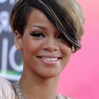 Rihanna Short Side Parted Hairstyle with Long Bangs