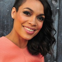 Rosario Dawson Medium Black Curly Hairstyle