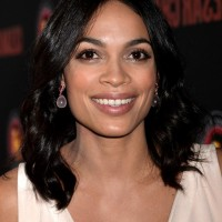 Rosario Dawson Medium Black Wavy Hairstyle for Women