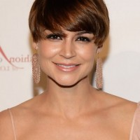 Samaire Armstrong Short Sassy Straight Haircut with Full Bangs