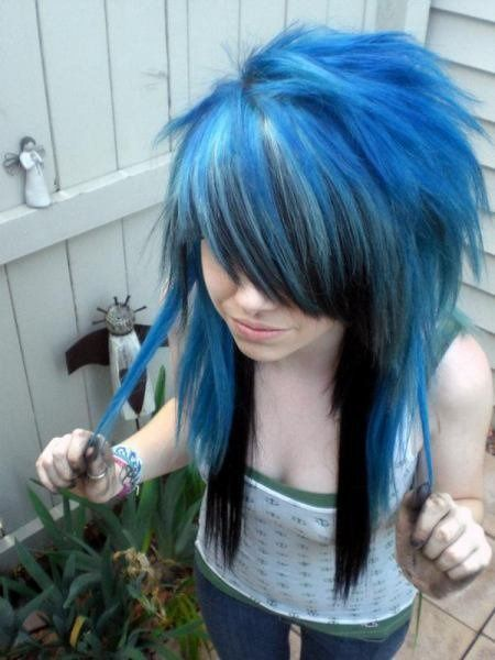 Sexy Blue Black Emo Hairstyle For Girls Styles Weekly