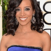 Shaun Robinson Dark Brown Medium Curly Hairstyle for Prom