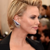 Side View of Charlize Theron Side Parted Short Haircut